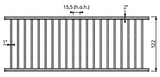 Afscheidingshek voor vleesvee, 122 cm hoog, 325 cm lang_